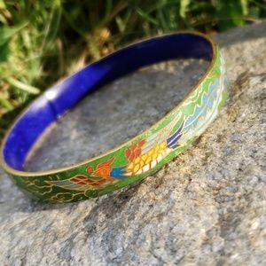 Antique Chinese Phoenix Enamel Cloissone Bracelet!